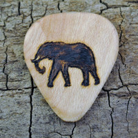 ONE ENGRAVED Wooden Guitar Pick - Elephant Design or Other Designs Available