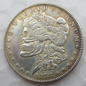 US Head-To-Head Two Face 1878/1879 Morgan Dollar skull zombie skeleton hand carved Copy Coins