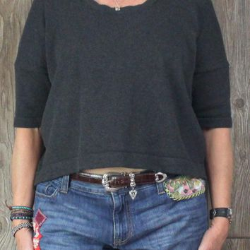 Cute Lululemon Short Sleeve Sweater 10 M size Gray Bhakti Reality Womens Cropped Top