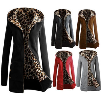 Womens Long Sleeve Fleece Sweat Zip Hoodie Leopard Casual Coat Jacket Outwear(5 ColorSize S-3XL)