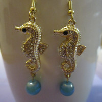 Gold-Tone Seahorse Charm Earrings with Teal Glass Beads