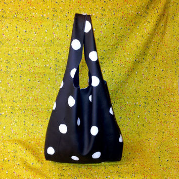 Black Leather Shopper Tote with Polka Dots by BuboBaggins on Etsy