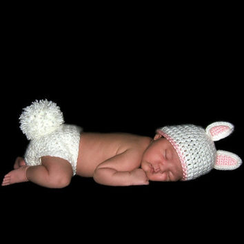 Bunny Photo Prop Crochet Hat Diaper Cover Tail by MySweetieBean