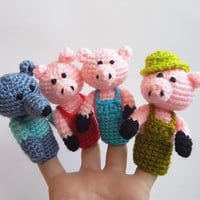 The three little Pigs Finger Puppets crochet puppets crochet finger theater pig wolf amigurumi theater Waldorf toy home school accessorry