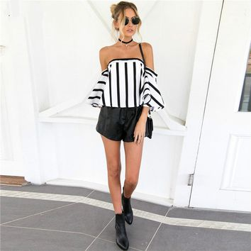 Casual Striped Printing Off Shoulder Top