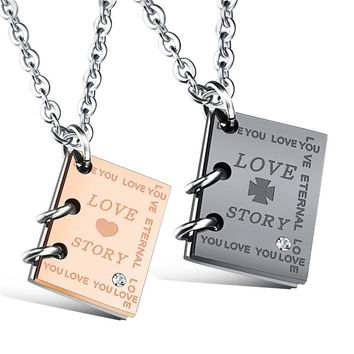 "Romantic ""Love Story""  Book Couples Necklace"