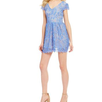 Xtraordinary Cap Sleeve Two-Tone Lace Fit-and-Flare Dress | Dillards