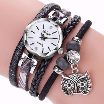 Winding Animal Pendant Women Watches 2017 Hot Design PU Leather Metal Watch Bracelets Gift Dress Watches Women Clock Montre