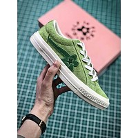 Golf Le Fleur X Converse Green Flower Fashion Shoes