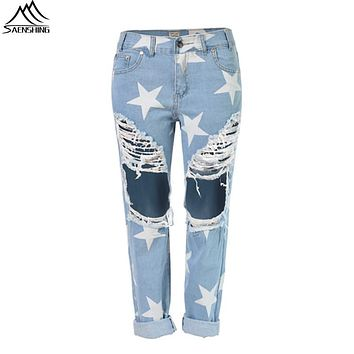 Women Ripped Jeans American Apparel 2016 New Hole with Star Jeans for Women Plus Size Beggar Hole Ripped Casual Pants&Trousers