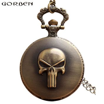 Retro Anime Punisher Skull Pocket Watch Necklace For Men Women Antique Bronze Flip Fob Quartz Clock With Pendant Chain Gift