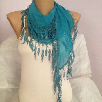 Blue  Scarf - Blue Lace Scarf - Lightweight Cotton Scarf - Bridal accessories