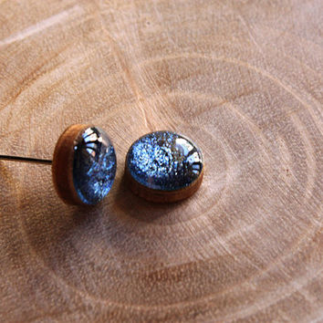 Shimmer Royal Blue Stud Earrings in wood, Hand Painted, Resin Earrings