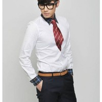 Men New Style Long Lattice Sleeve Color Matching White Cotton Dress Shirt M/L/XL@147P45w $17.94 only in eFexcity.com.