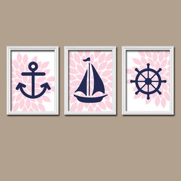 Nautical Anchor Boat Wheel Pink Navy Blue Girl Custom Colors Flower Burst Artwork Set of 3 Trio Prints WALL Decor ART Crib NURSERY Girl Baby