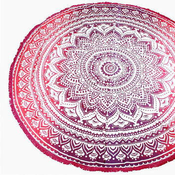 Purple Ethnic Lotus Multi-way Round Beach Throw with Tassel Trim Beach blanket / Beach towel / Wrap / Rug