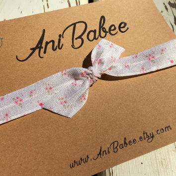 Tie knot baby headband, knotted headband, floral print headband, shabby chic style, bow headband, infant, toddler, teen headband
