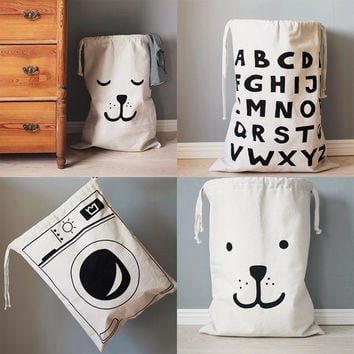 Cute Large Cartoon Creative Babies Toys Storage Bag Cute Home Bedroom Canvas Bags Bear Pattern Laundry Bag Pouch