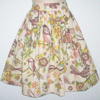 Floral and Bird Motif Full Gathered Skirt by Eclectasie on Etsy