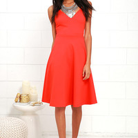 Heard on High Coral Red Midi Dress