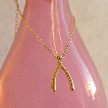 Gold Wishbone Pendant Necklace in 14K Gold Vermeil - Gift for Her