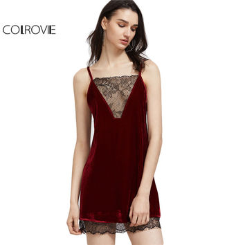 COLROVIE Party Sexy Summer Dress 2017 Club Wear Burgundy Contrast Lace Trim Strappy Back Velvet Cami Dress