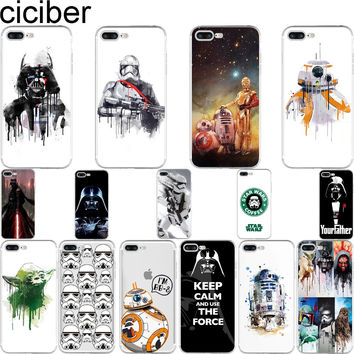 R2D2 BB8 Star Wars Coffee Stormtrooper Darth Vader soft silicon phone cases cover For iphone 7 7 plus 5S SE 6 6S Fundas Coque