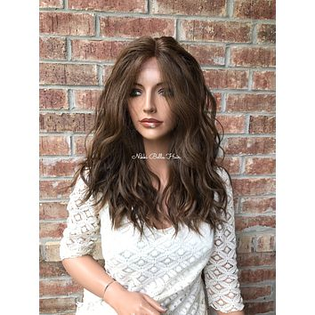 "Bella Balayage Ombré Human Hair Blend Multi Parting lace front wig 16"" 41721"