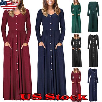 USA Womens Loose Casual Long Dress Long Sleeve Button Down Maxi Pocket Dresses