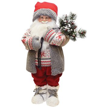 "25"" Santa in Winter Vest with Sack of Pine Christmas Figure Decoration"