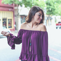 Ruffled Babydoll Top in Berry