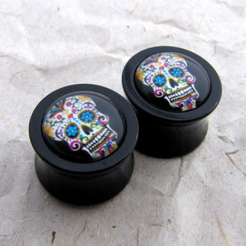 "Double Flare Plugs - Dia de los Muertos - 5/8"" 3/4"" 9/16"" 1/2"" 00g- Sugar Skull Plugs - Day of the Dead"