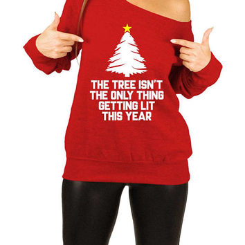 Funny Christmas Sweater Holiday Gift Ideas For Women Xmas Pullover Christmas Jumper Xmas Present Off The Shoulder Slouchy Sweatshirt - SA711