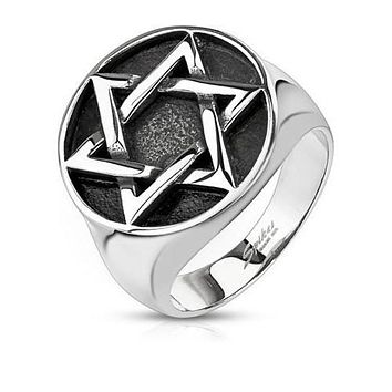 Jewish Ring- Silver Woven Star