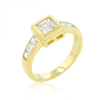 Simple Golden Square Bezel Cubic Zirconia Ring (size: 09)