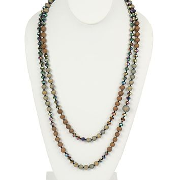 Natural Stone Long Beads Necklace