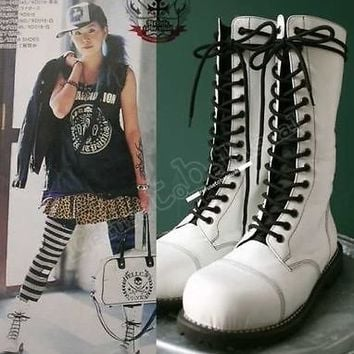 a14 Hole Punk Rock Engineer Biker Motorcycle Vegan Leather White Boots