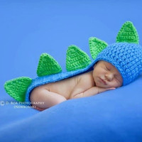 Baby Boy Dinosaur Beanie with tail & spikes by SavyCrochet on Etsy