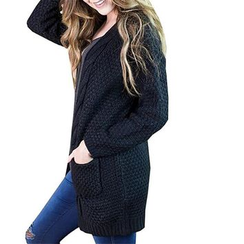 Womens Black Causal Open Front Loose Pullover Sweater Blouses