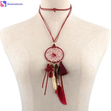 SUSENSTONE Necklace Monsters Natural Stone Feathers Tassel Long Necklace women red blue black brown