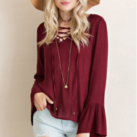 All Laced up Blouse - Burgundy