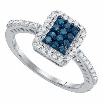 10kt White Gold Women's Round Blue Color Enhanced Diamond Rectangle Cluster Ring 3-8 Cttw - FREE Shipping (USA/CAN)