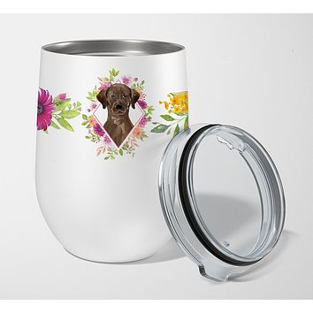 Chocolate Labrador Pink Flowers Stainless Steel 12 oz Stemless Wine Glass CK4251TBL12