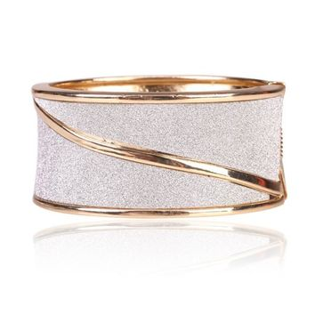 Beautiful Spiral Gold Bangle Bracelet with Diamond Dust Look