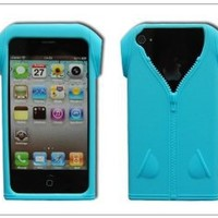 BONAMART ® Cool T Shirts Clothes Silicone Case Cover for Apple iPhone 4 4G 4s AT&T and Verizon Light Blue qh