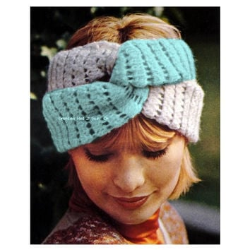 Crochet Headband Pattern - 1970s Twisted Turban - PDF Digital Download - Headband twist wrap - Hair Tie - Mesh Peek a Boo Head Wrap
