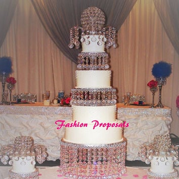 Wedding 3 Tiers cake stand, Wedding crystal cake stand and separators set of 3 and a crystal fountain topper with dome