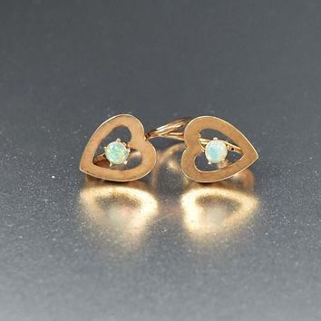 Dainty 14K Gold Heart Opal Earrings