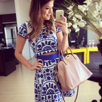 Retro Tile Print Two Piece Dress 9750