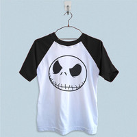 Raglan T-Shirt - Jack Skellington Head Pumpkin King Halloween